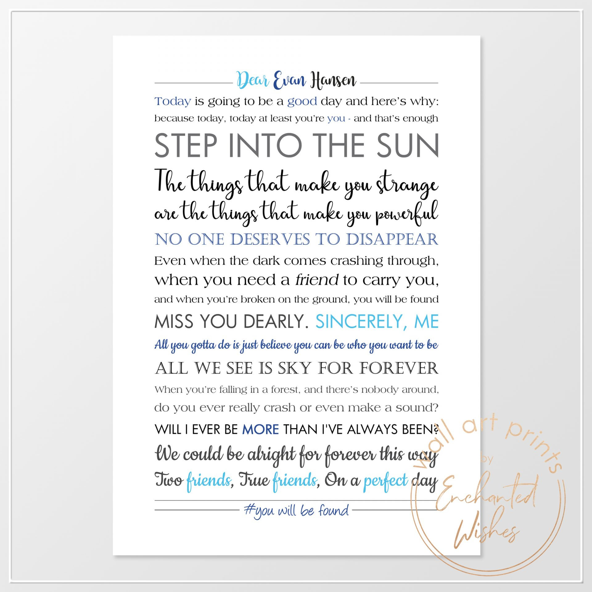 Dear Evan Hansen Quotes print