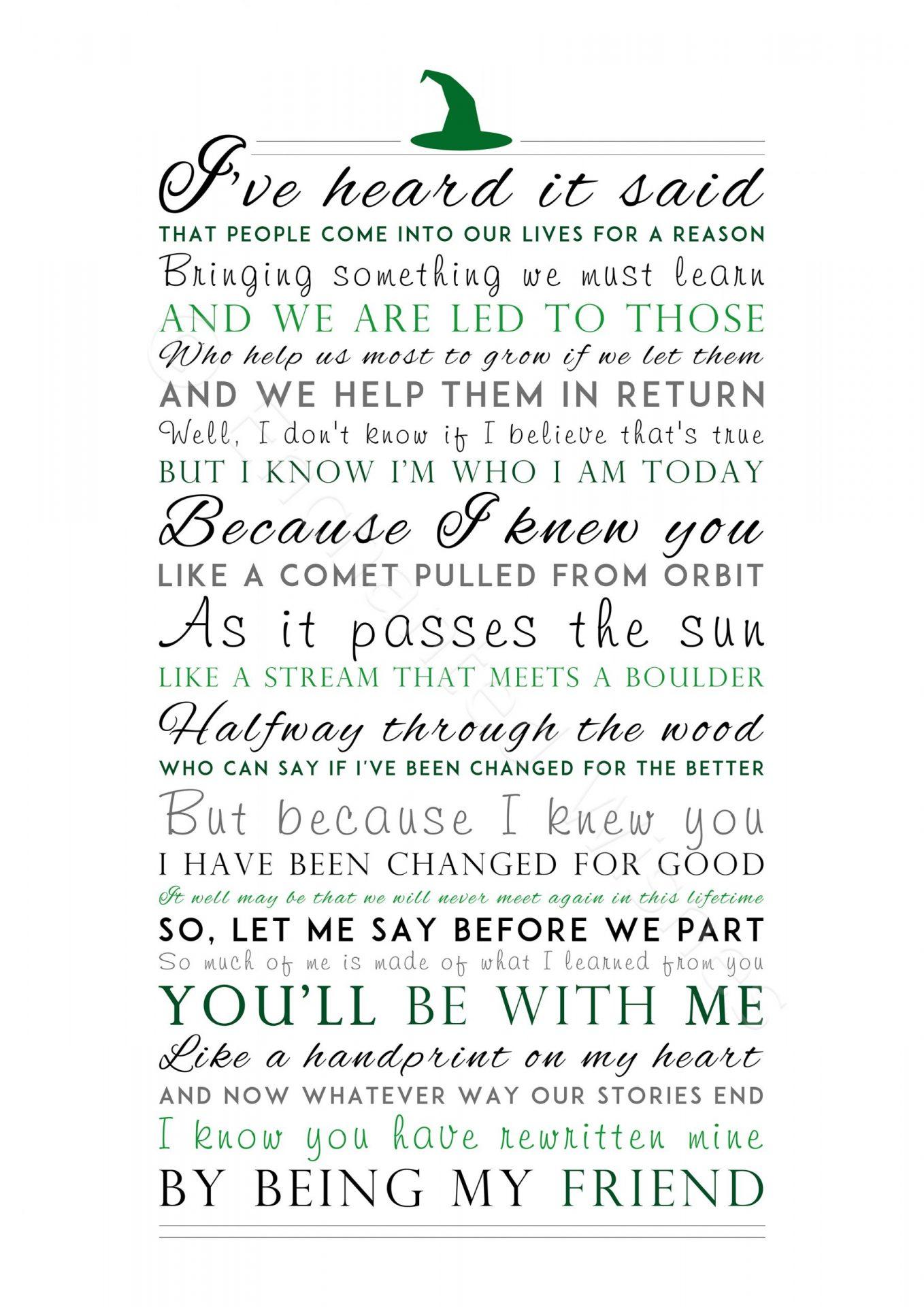 For Good Lyrics Print Wicked