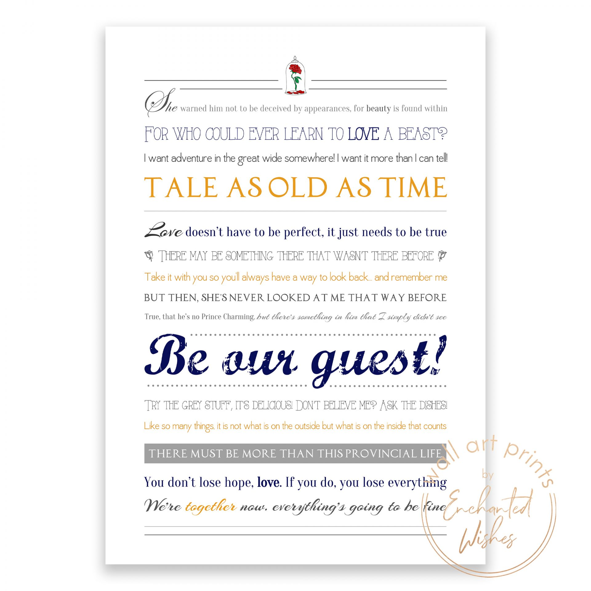 Beauty and the Beast Quotes print