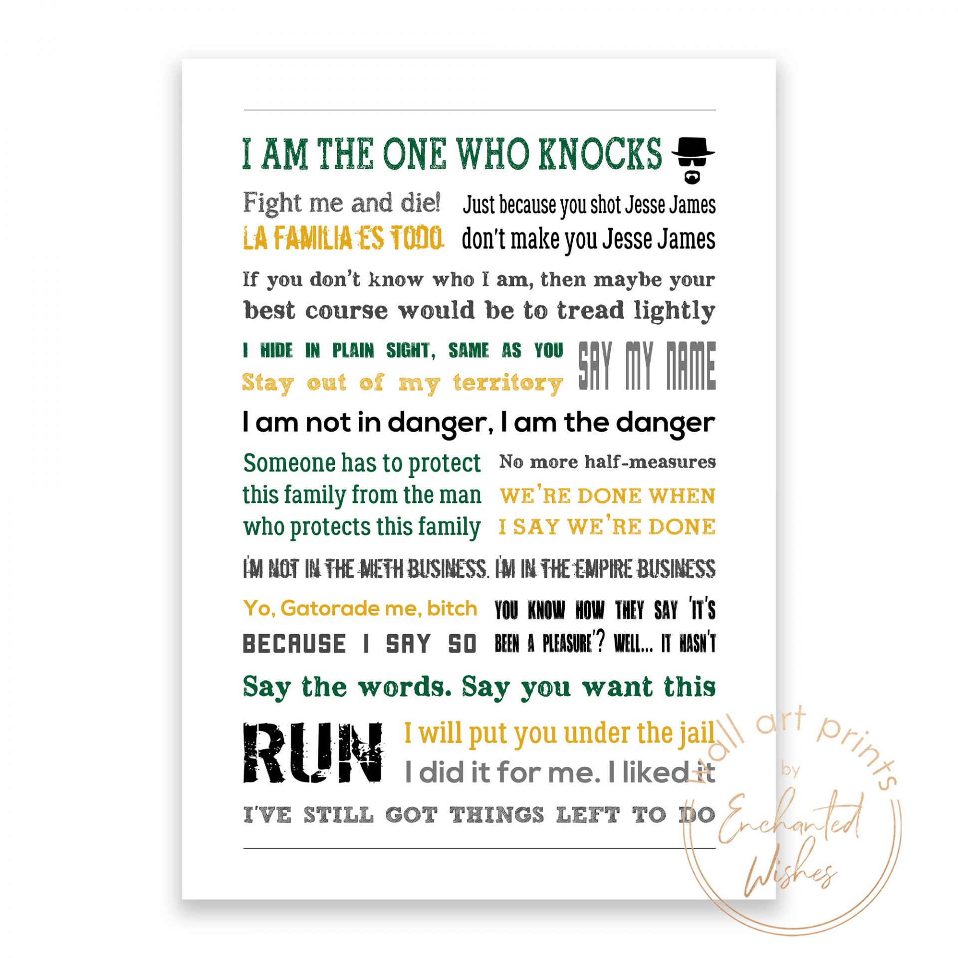Breaking Bad quotes print