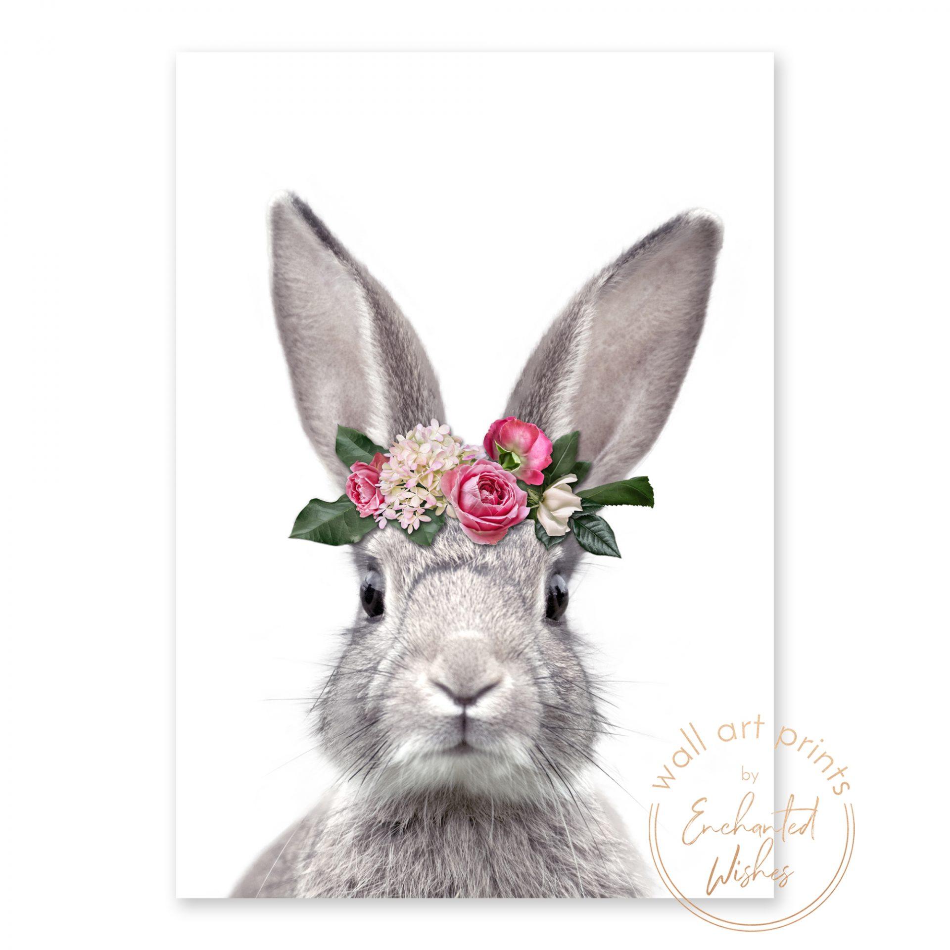 bunny rabbit flower crown print