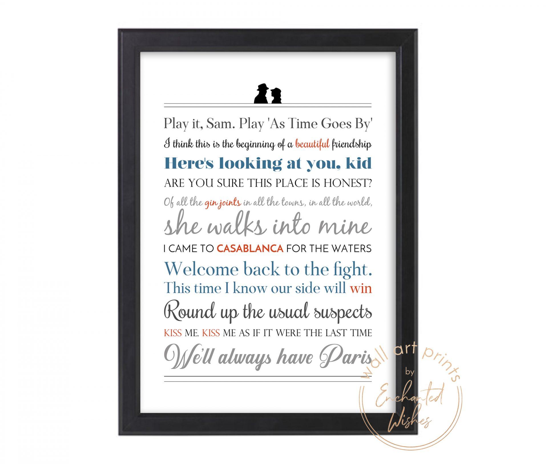 Casablanca Quotes Print
