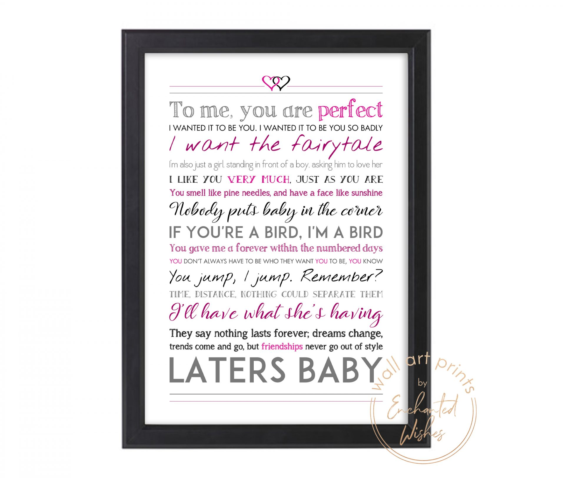 chick flick movie quotes print