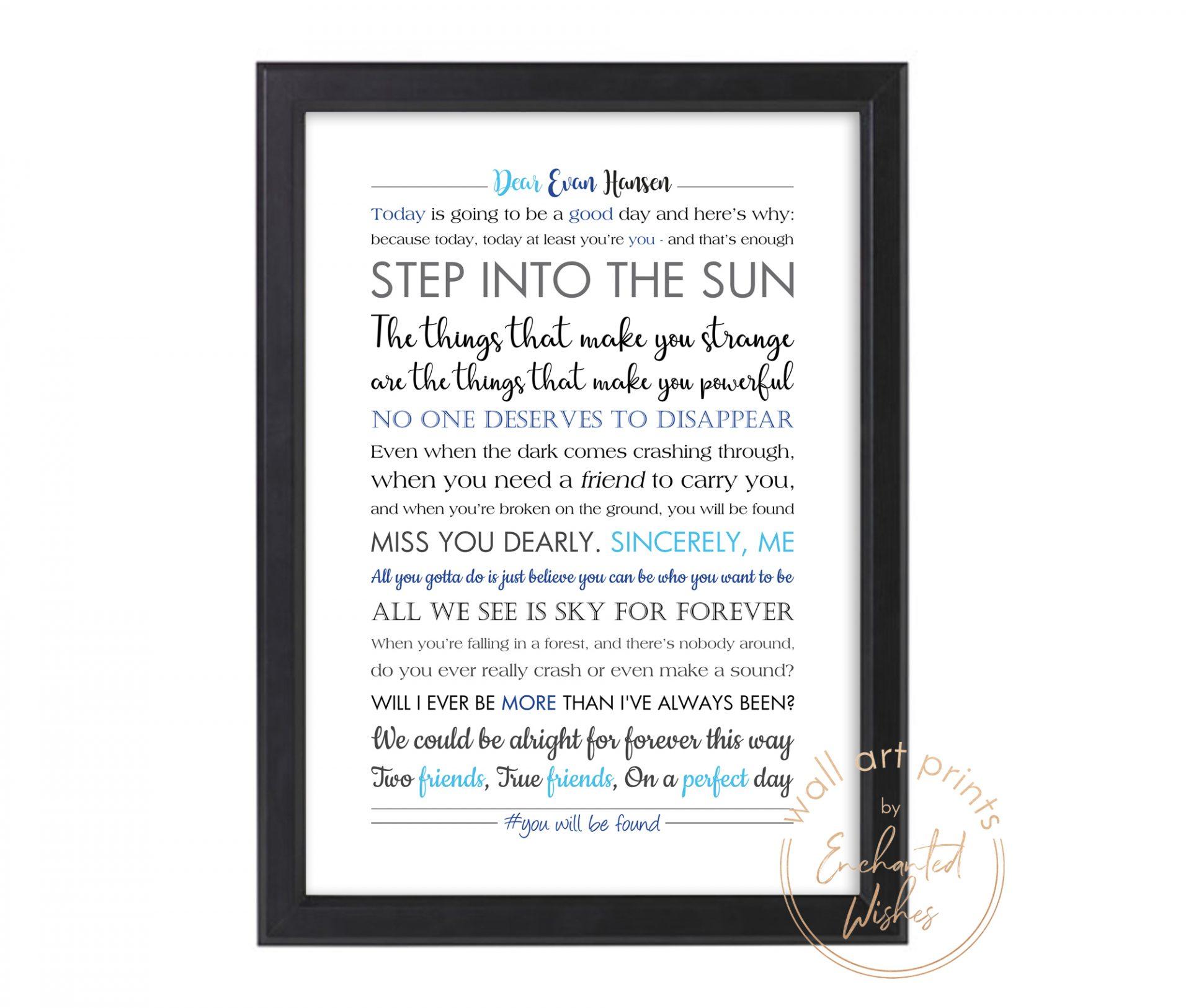 Dear Evan Hansen quote print