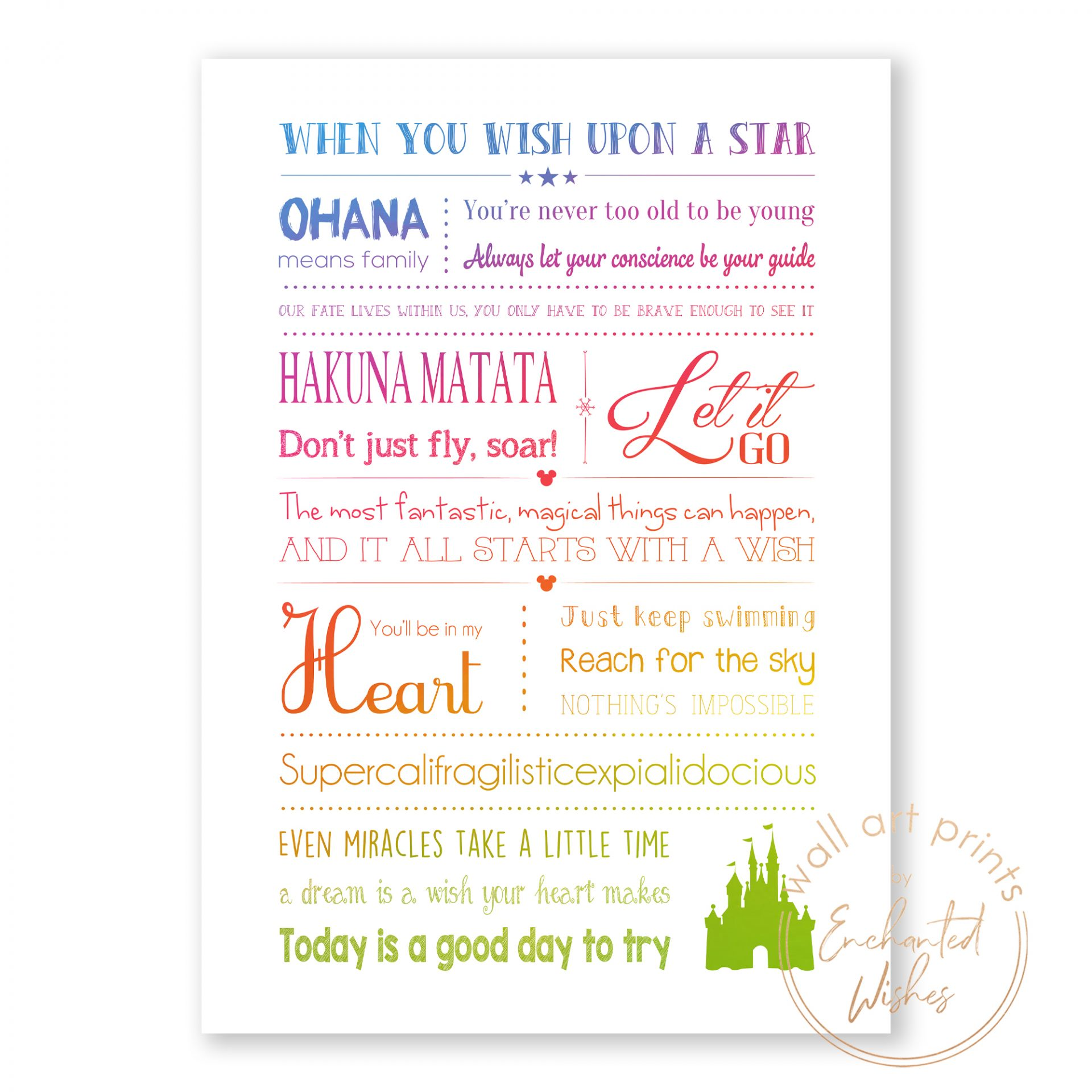 Disney quotes print