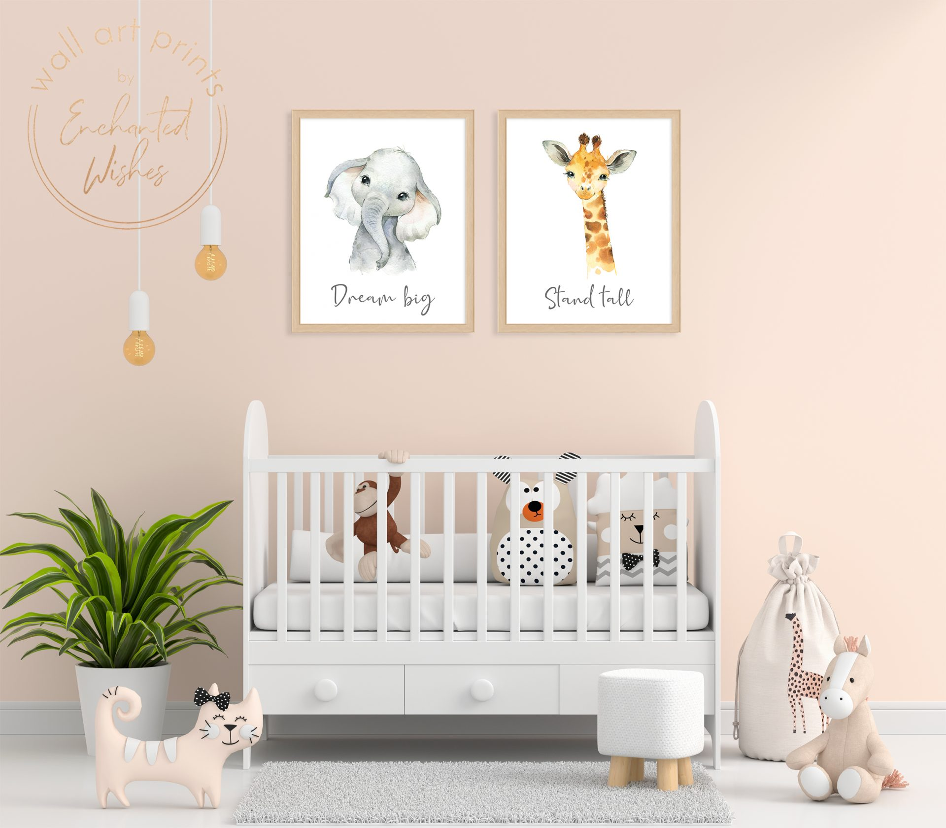 Baby safari animal quote prints