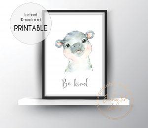 Baby hippo nursery print