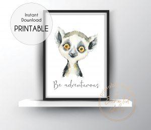 Baby lemur nursery print