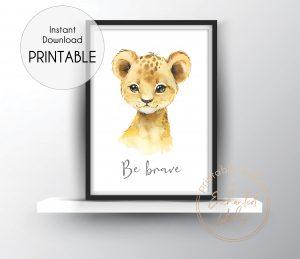 Baby lion nursery print