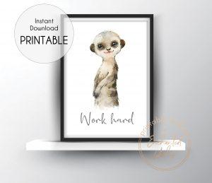 Baby meerkat nursery print