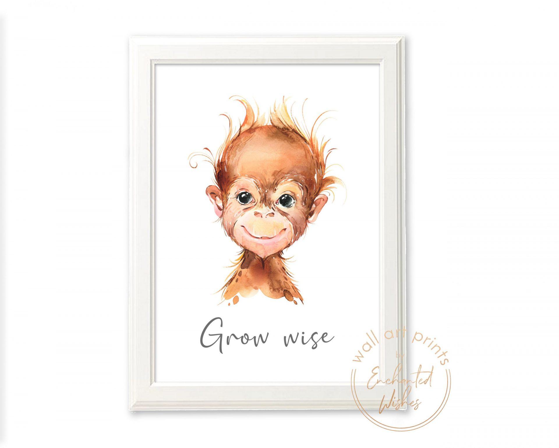 Baby orangutan nursery print