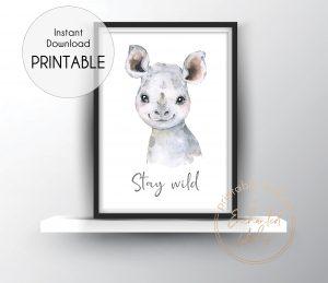 Baby rhino nursery print