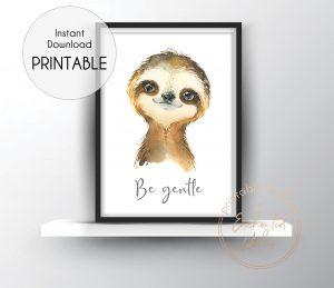 Baby sloth nursery print