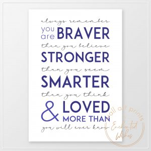 Always Remember You Are Quote Print Blue
