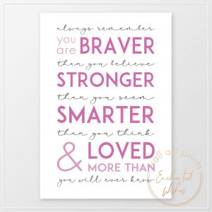 Always Remember You Are Quote Print Pink