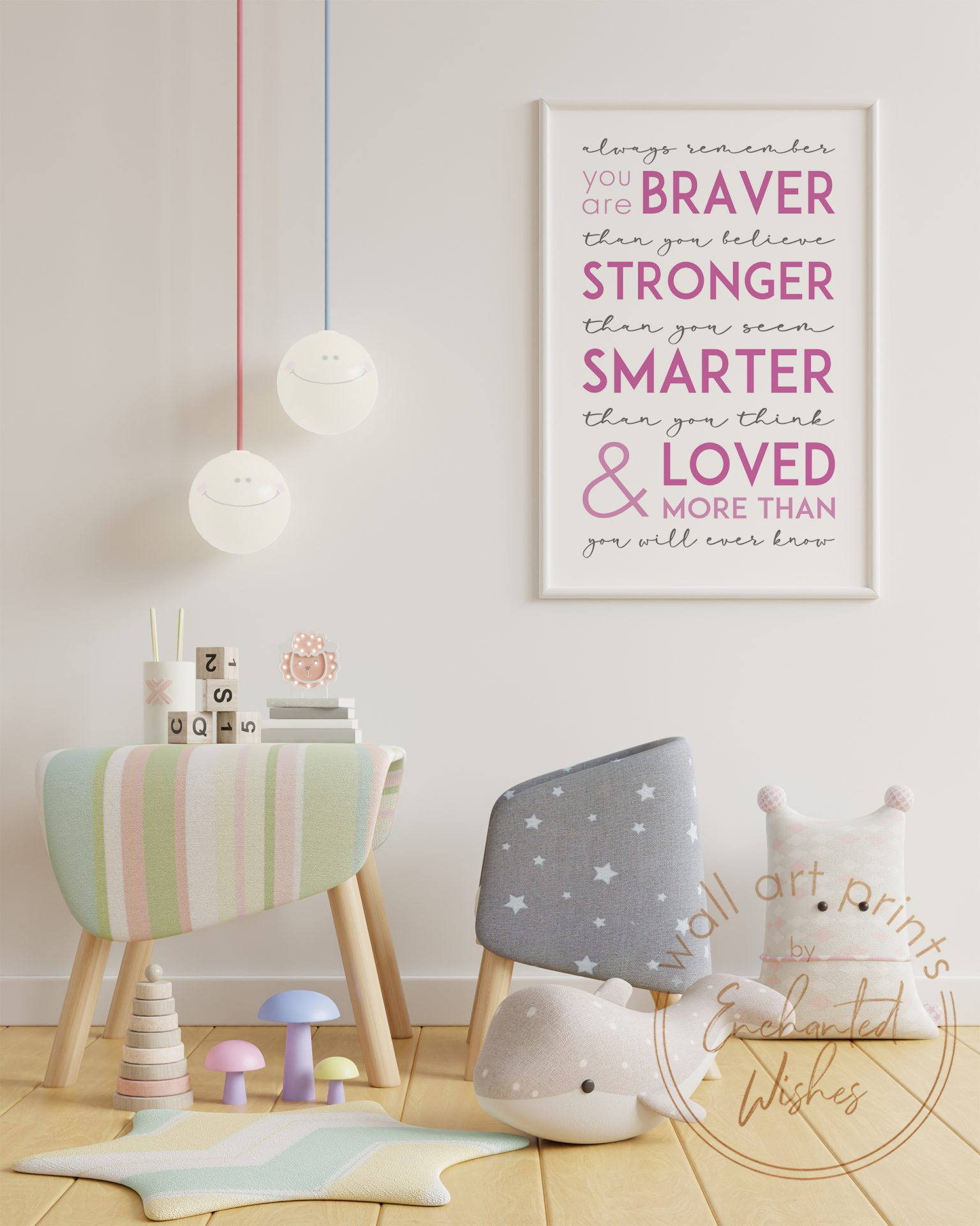 Always Remember You Are Quote Print Pink Nursery