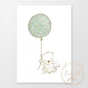 Bear with balloon nursery print