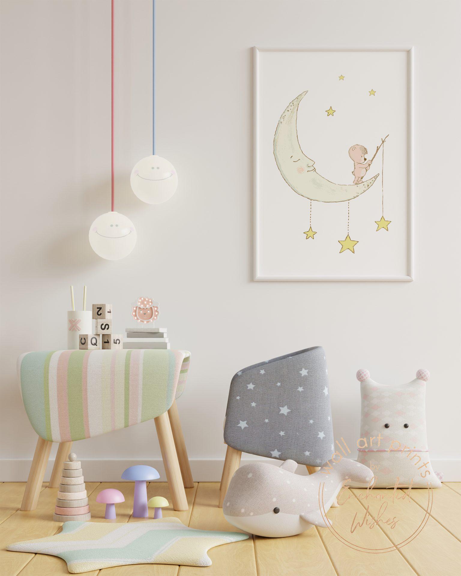Bear on moon nursery print