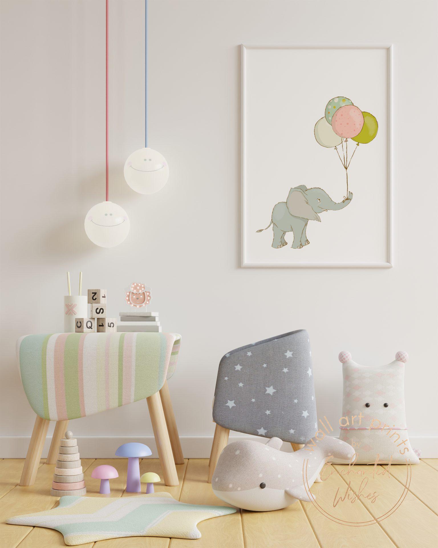 Elephant with balloon print nursery