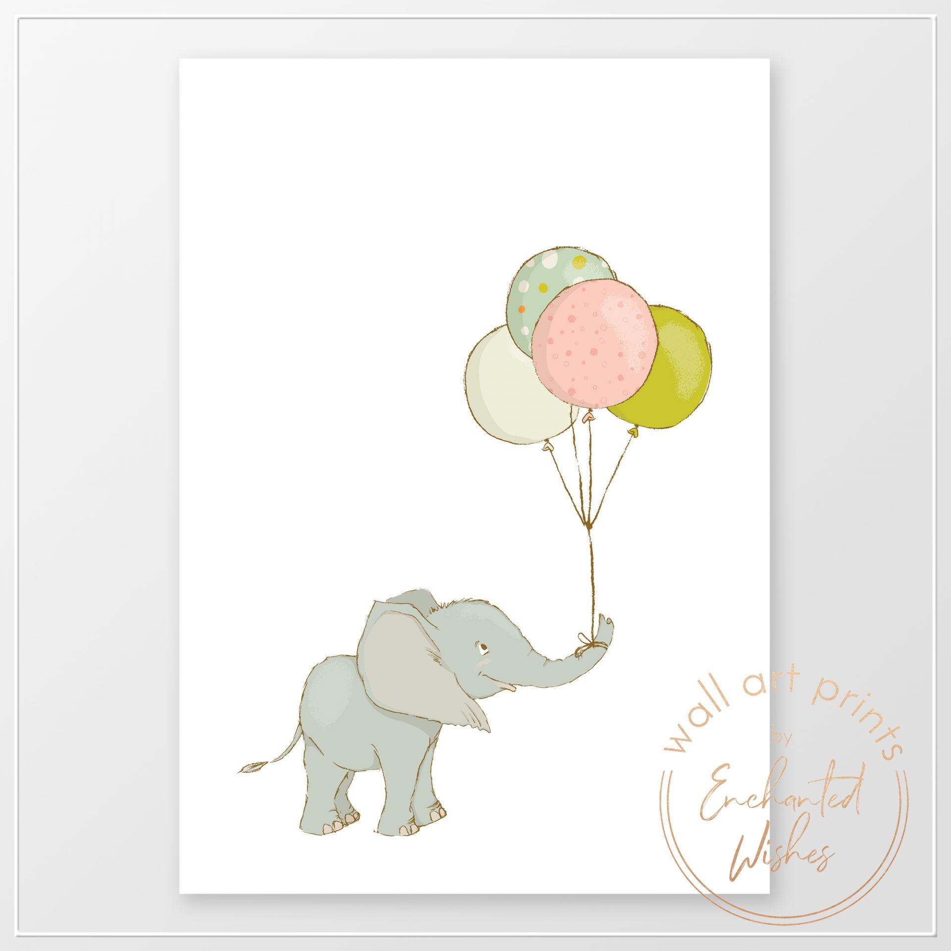 Elephant with balloon nursery print