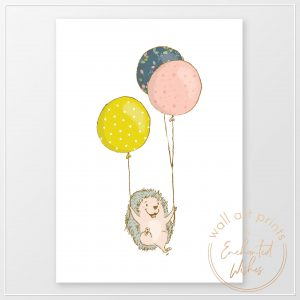 Hedgehog with balloons print