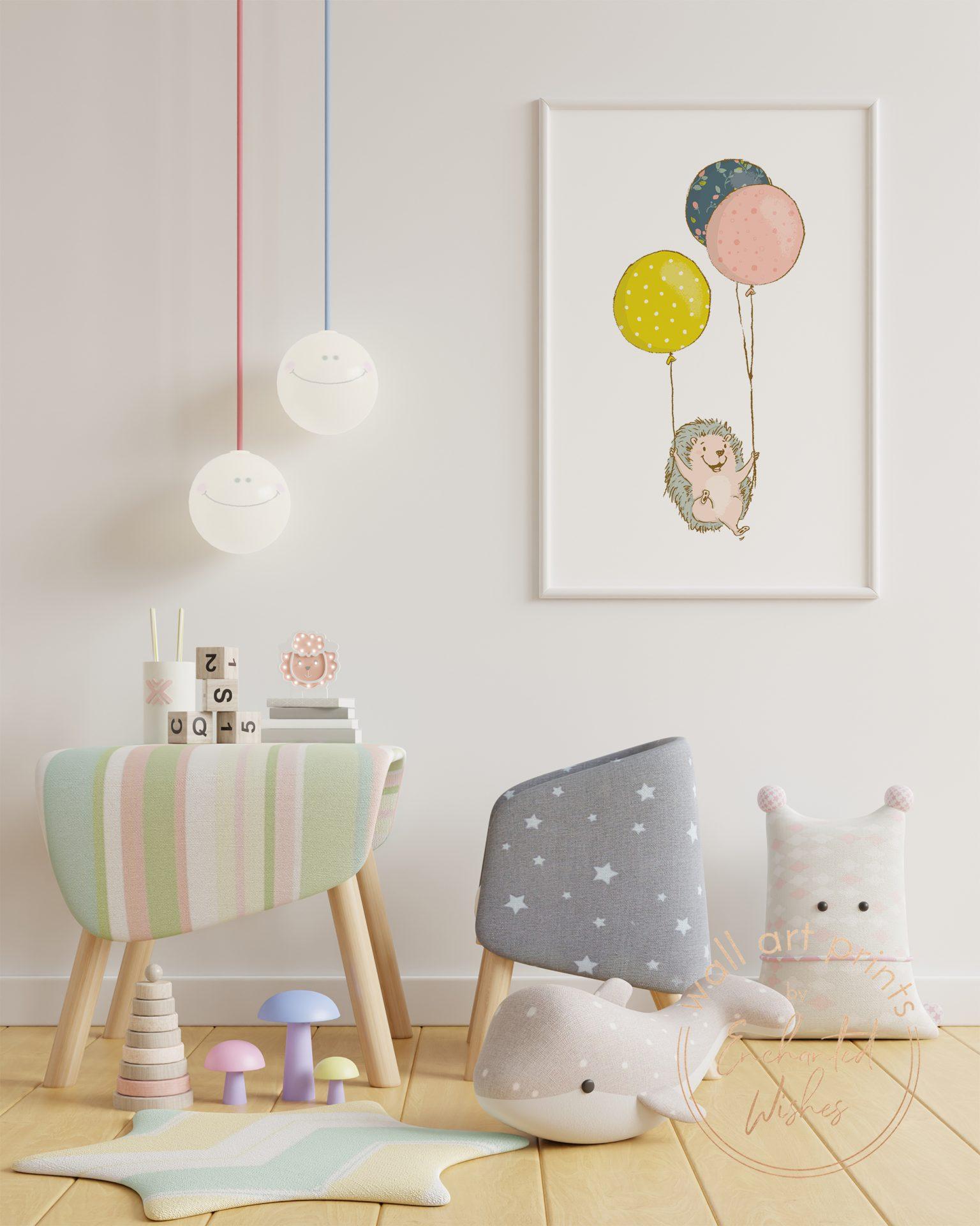 Hedgehog with balloons nursery print