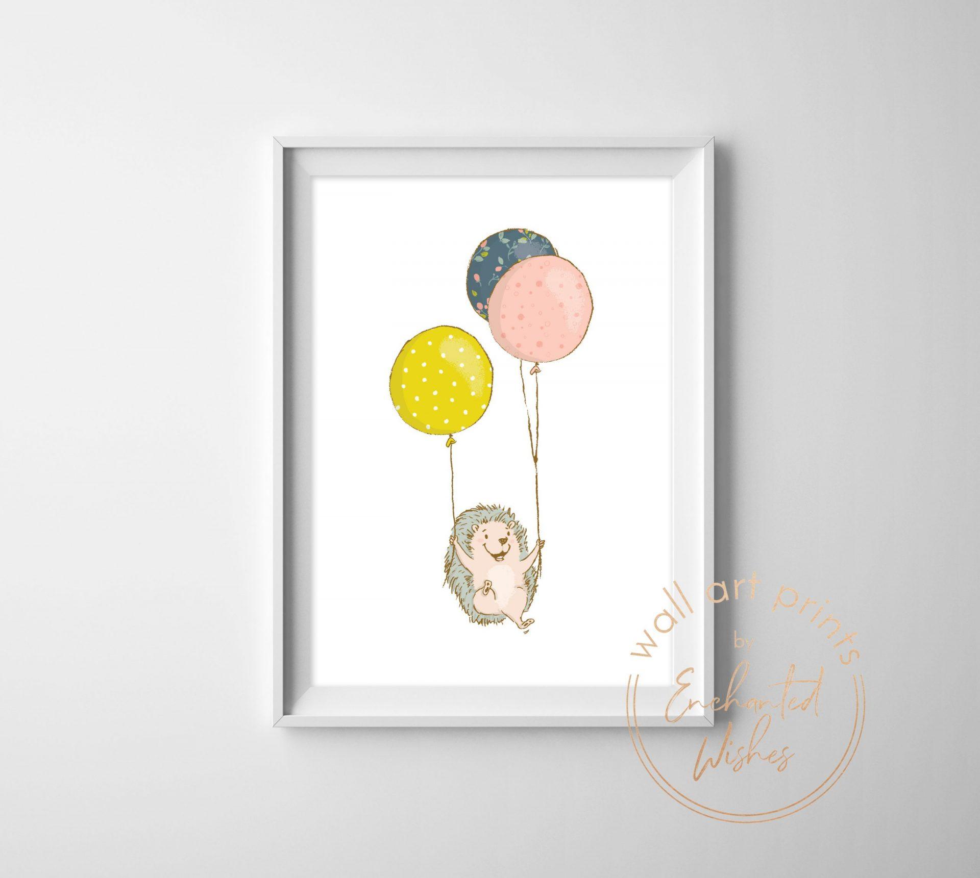 Hedgehog with balloons printable