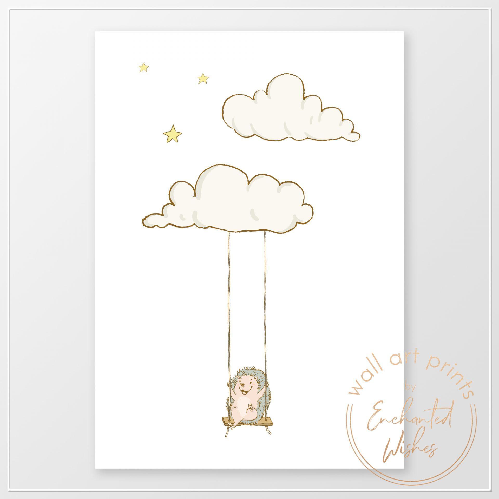 Hedgehog on swing nurseryprint
