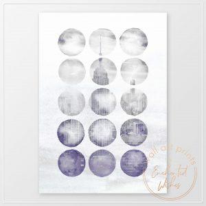 Abstract New York Indigo Print