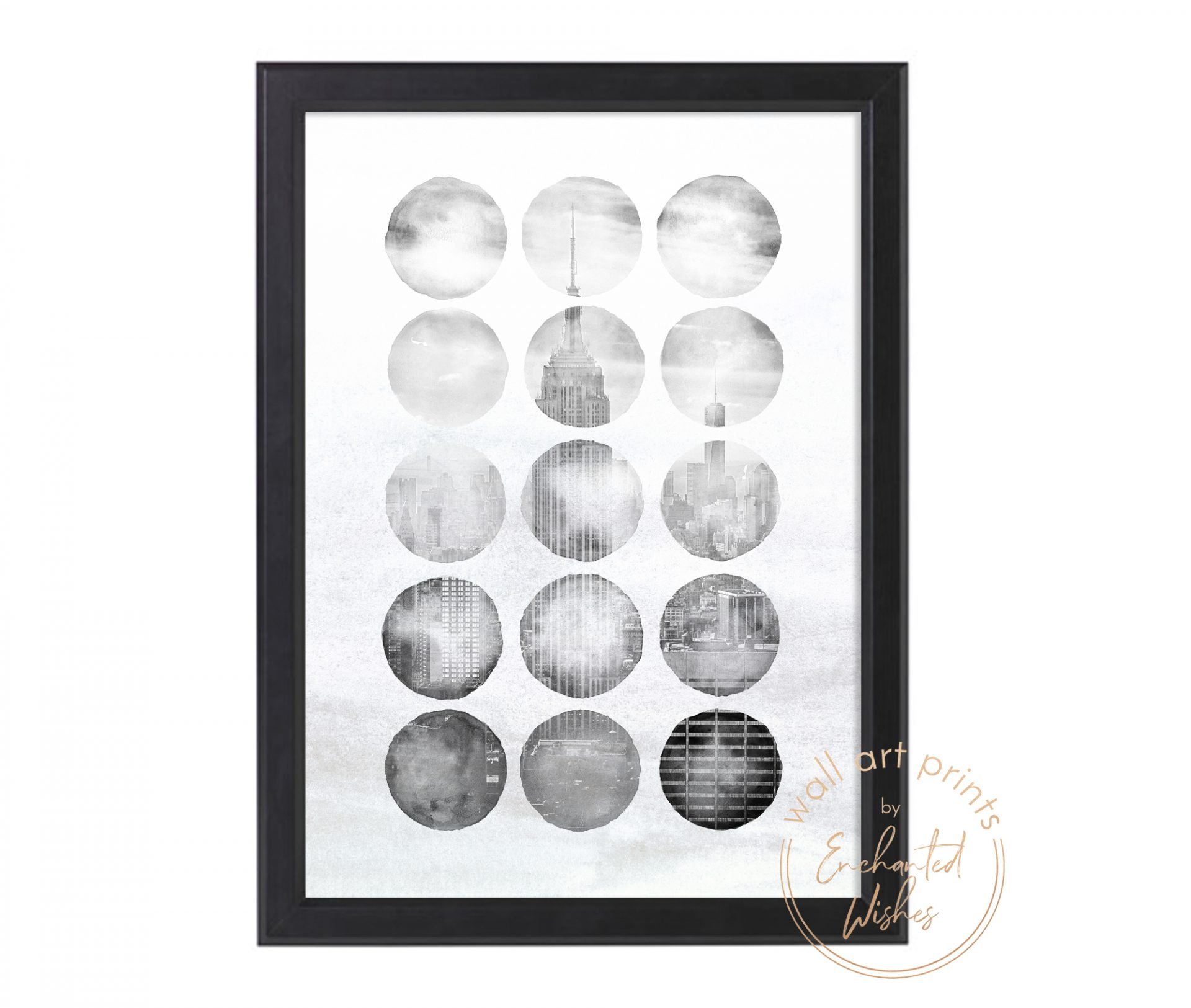 Abstract New York Black White Print
