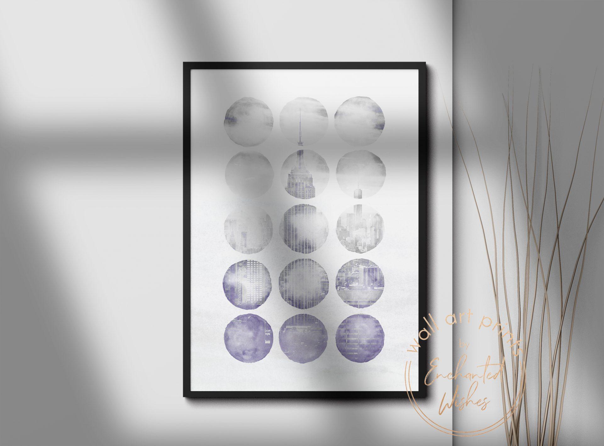 Abstract Indigo New York Print