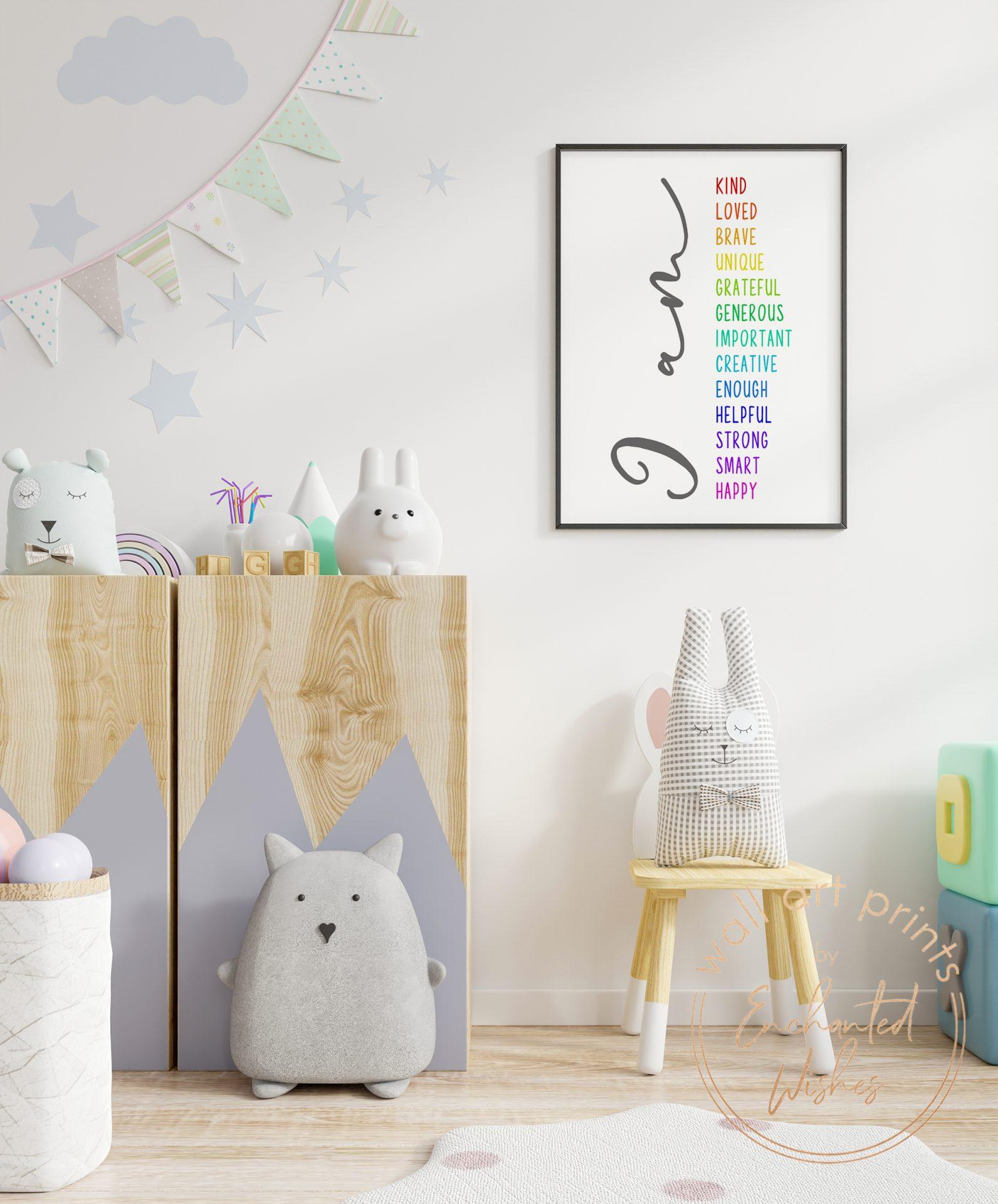 Positive affirmations print nursery