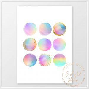 Rainbow dots abstract print