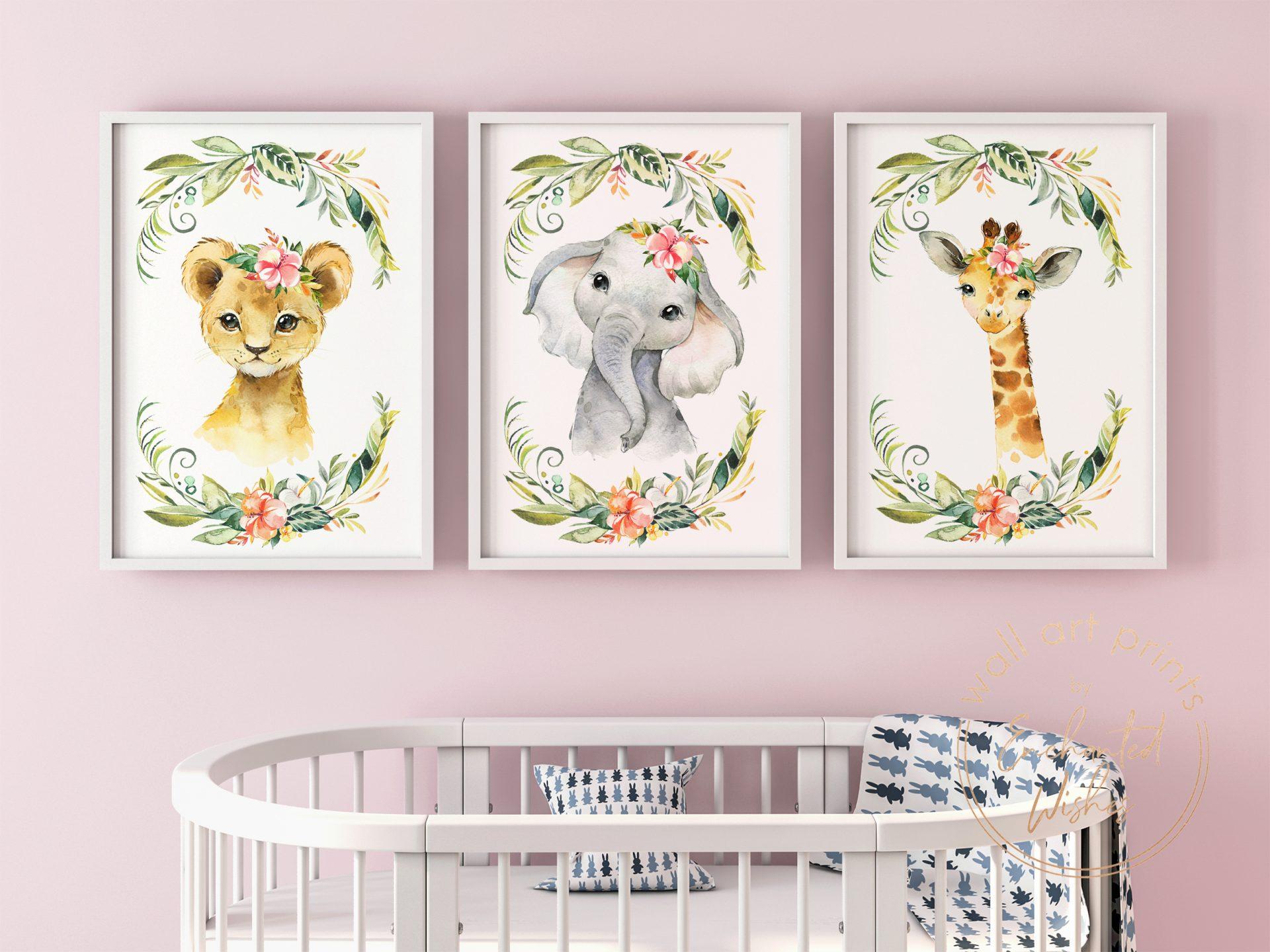 Floral safari animal nursery prints