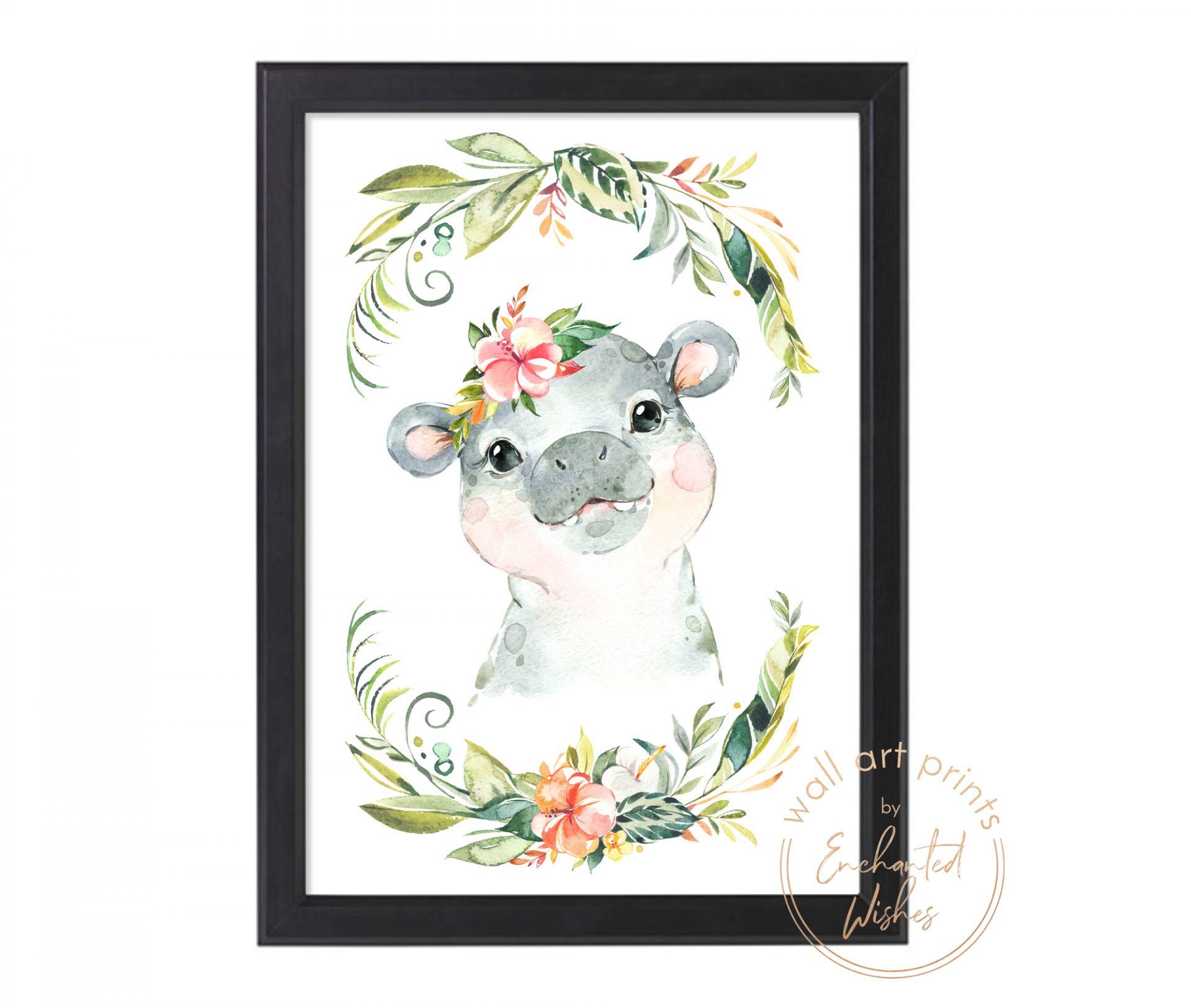 floral safari hippo print