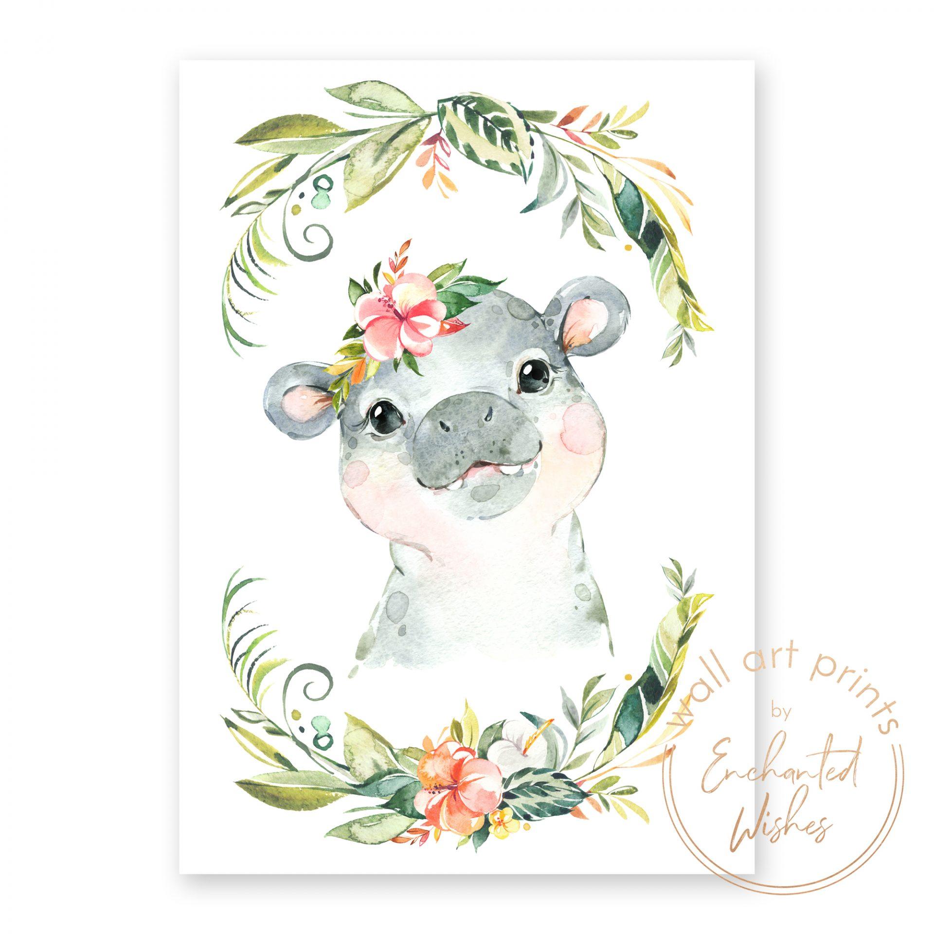 floral safari hippo