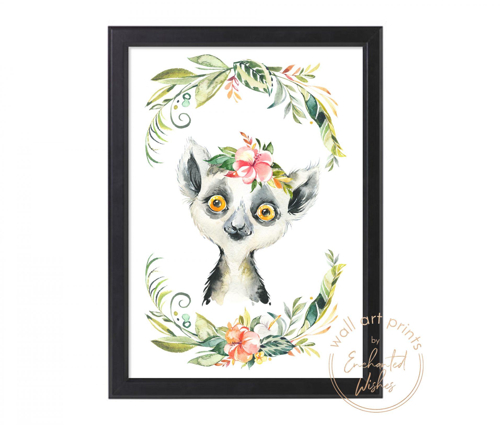 floral safari lemur print