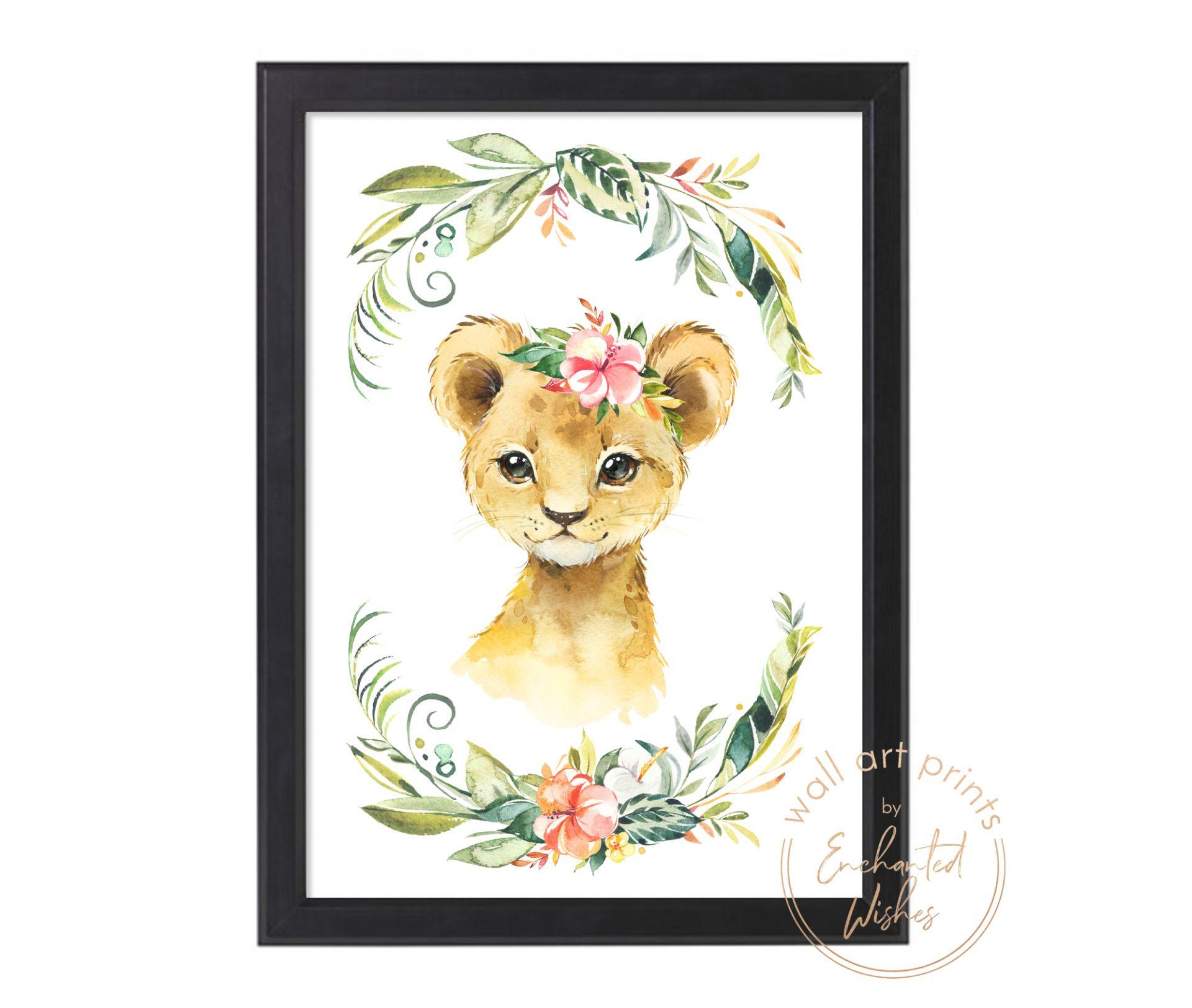 floral safari lion print