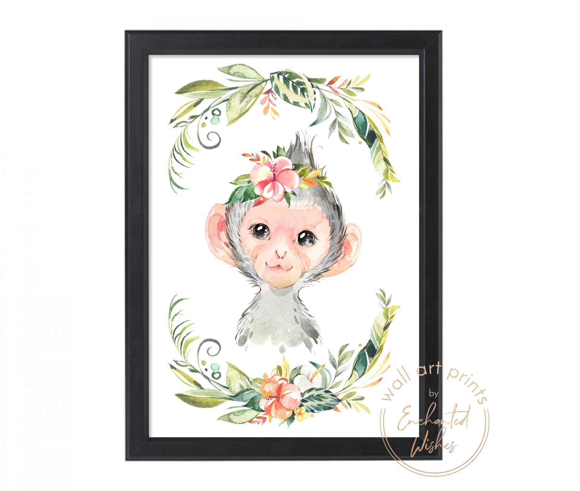 floral safari monkey print