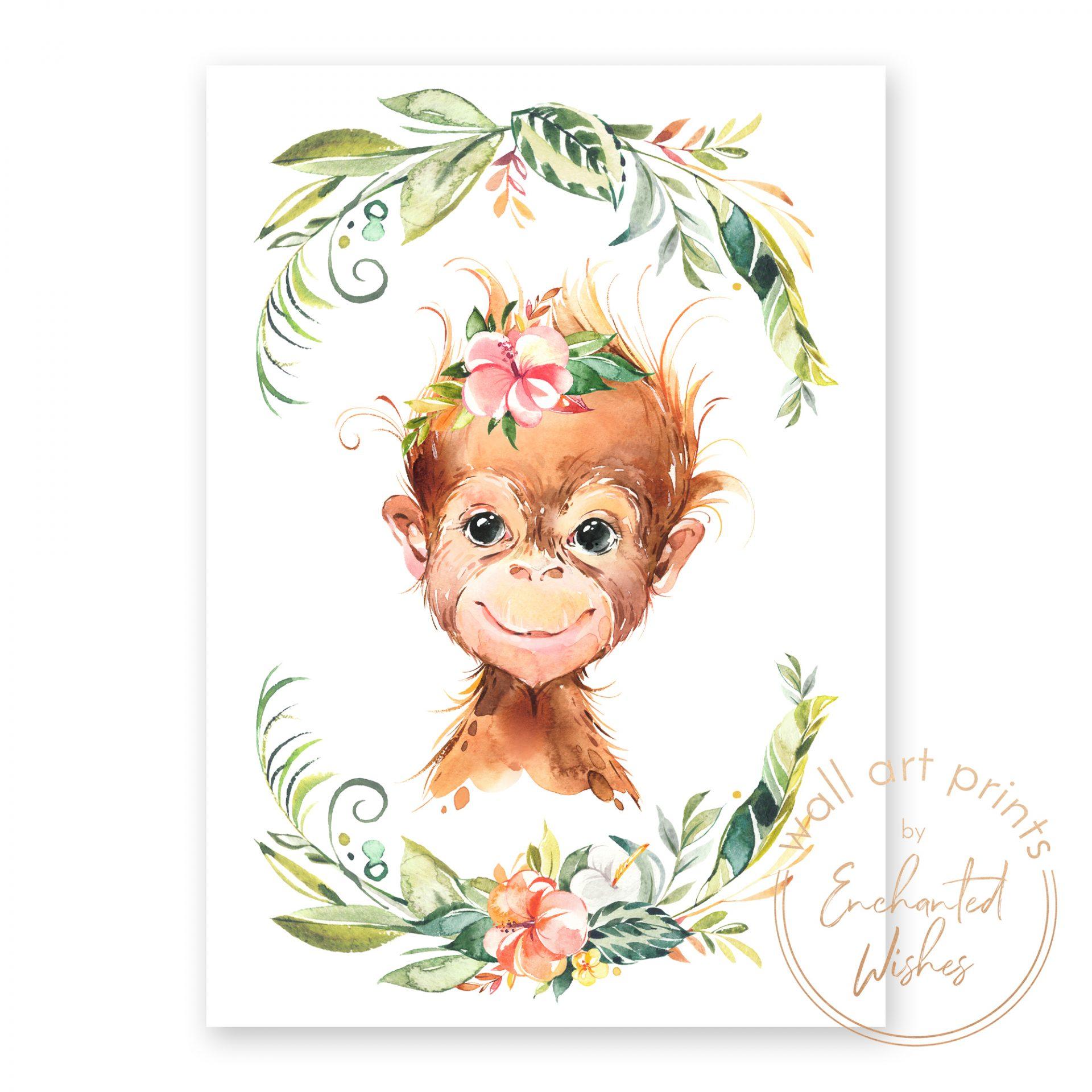 floral safari ornagutan print