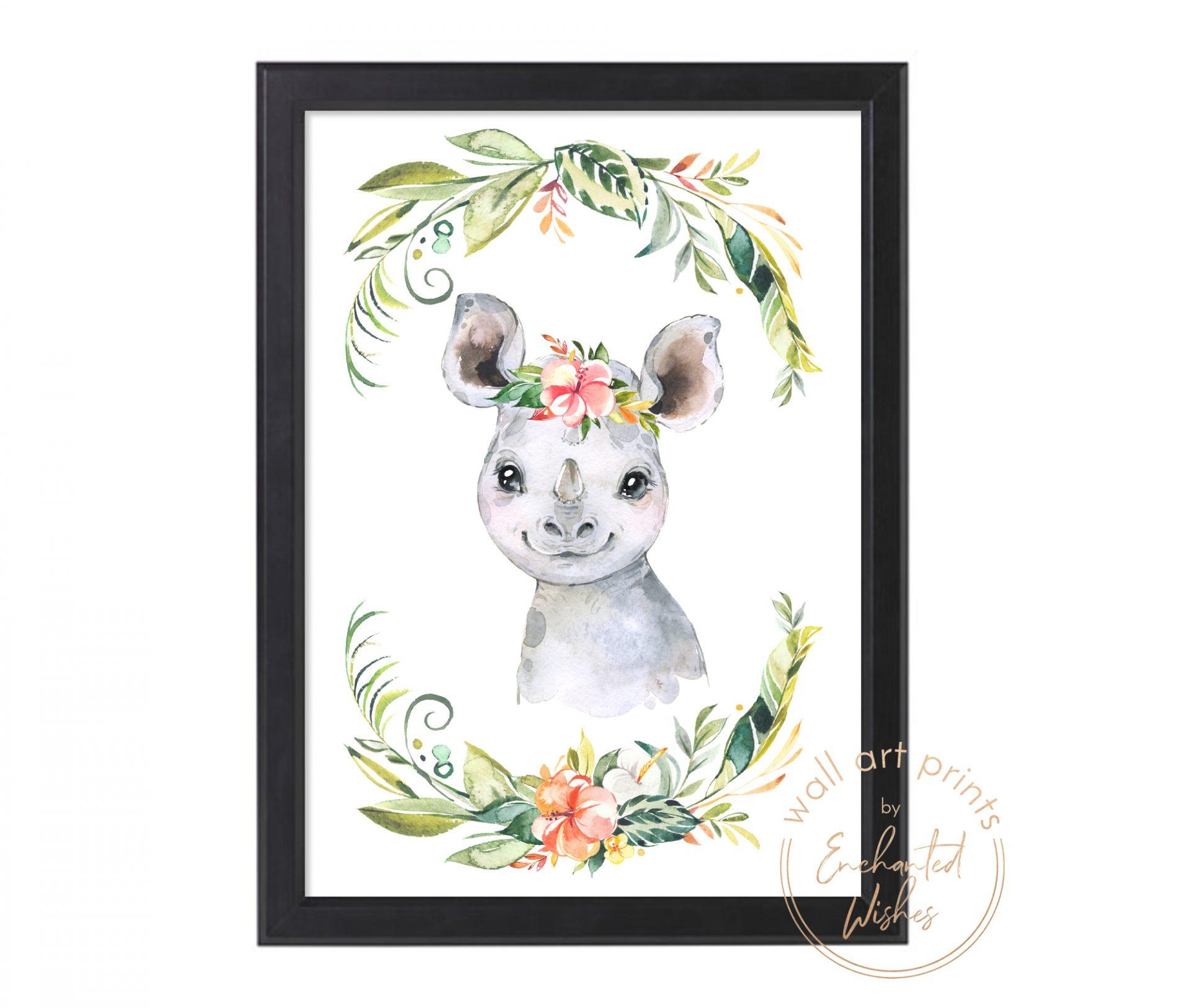 floral safari rhino print