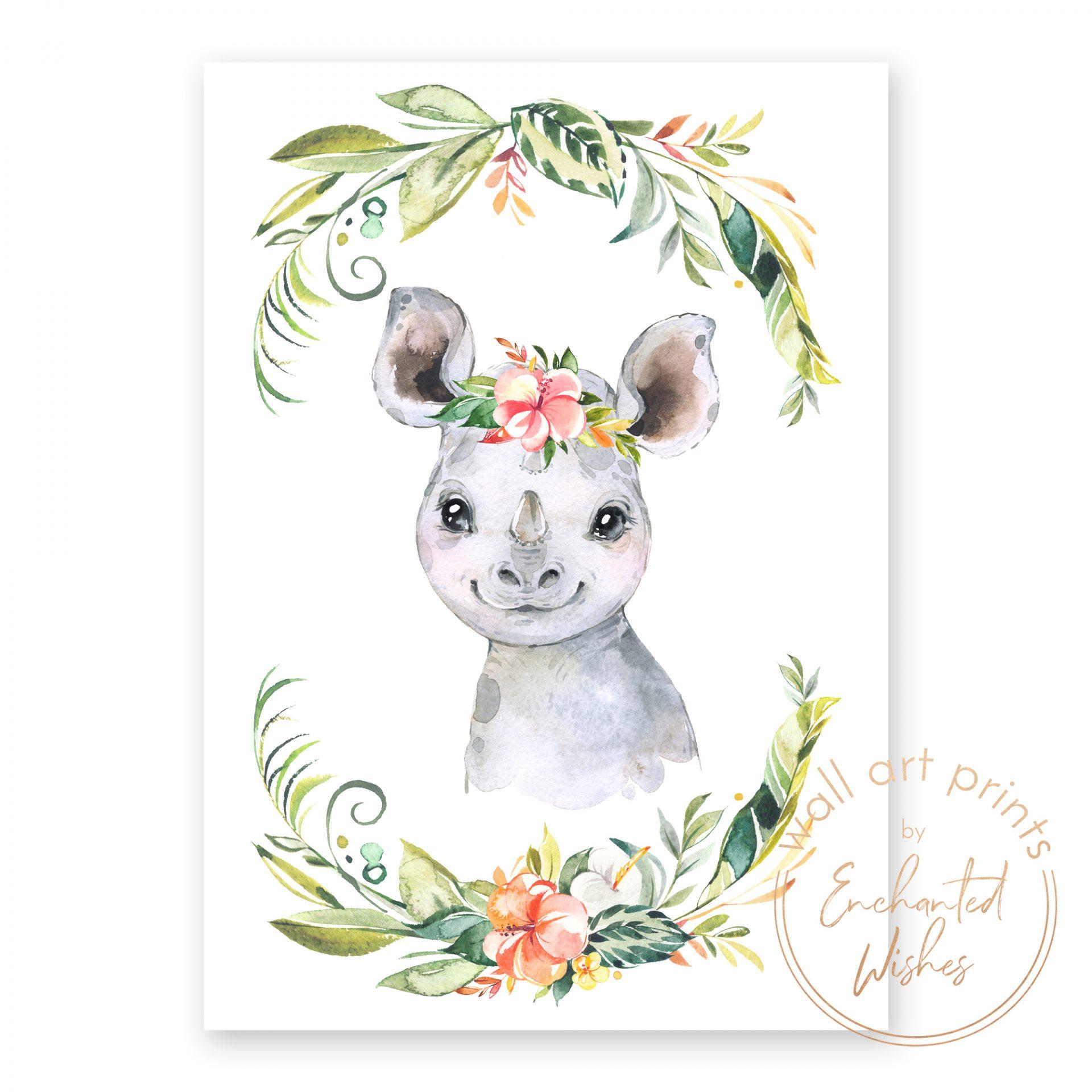 floral safari rhino