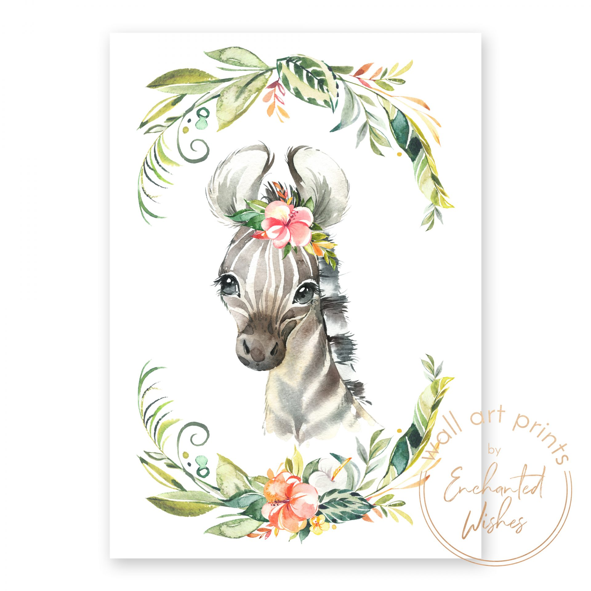 floral safari zebra