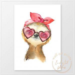 Sloth in sunglasses print
