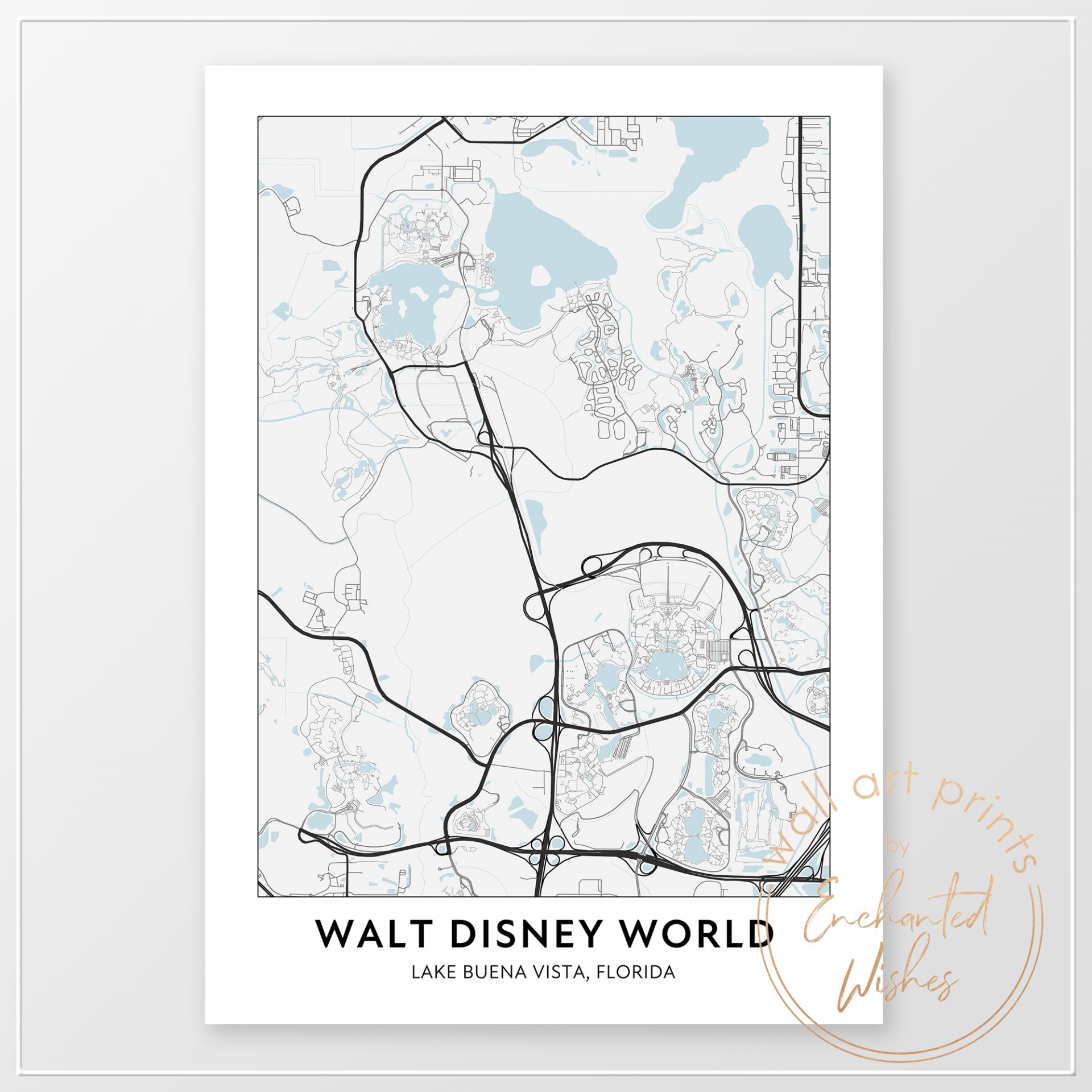 Walt Disney World map print