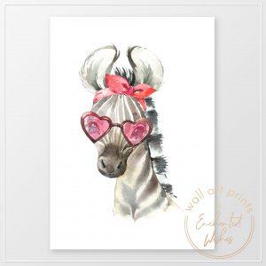 Zebra in sunglasses print
