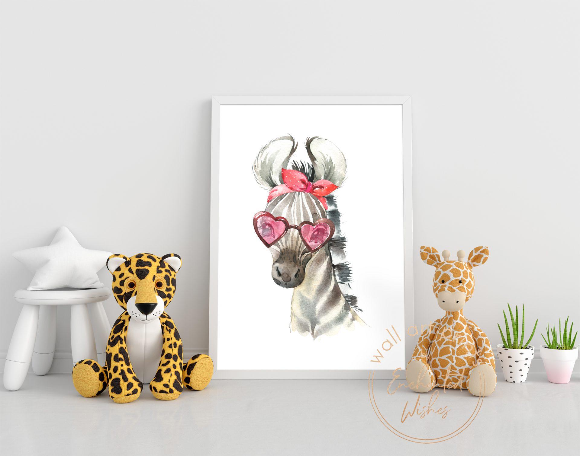 Zebra in sunglasses print nursery