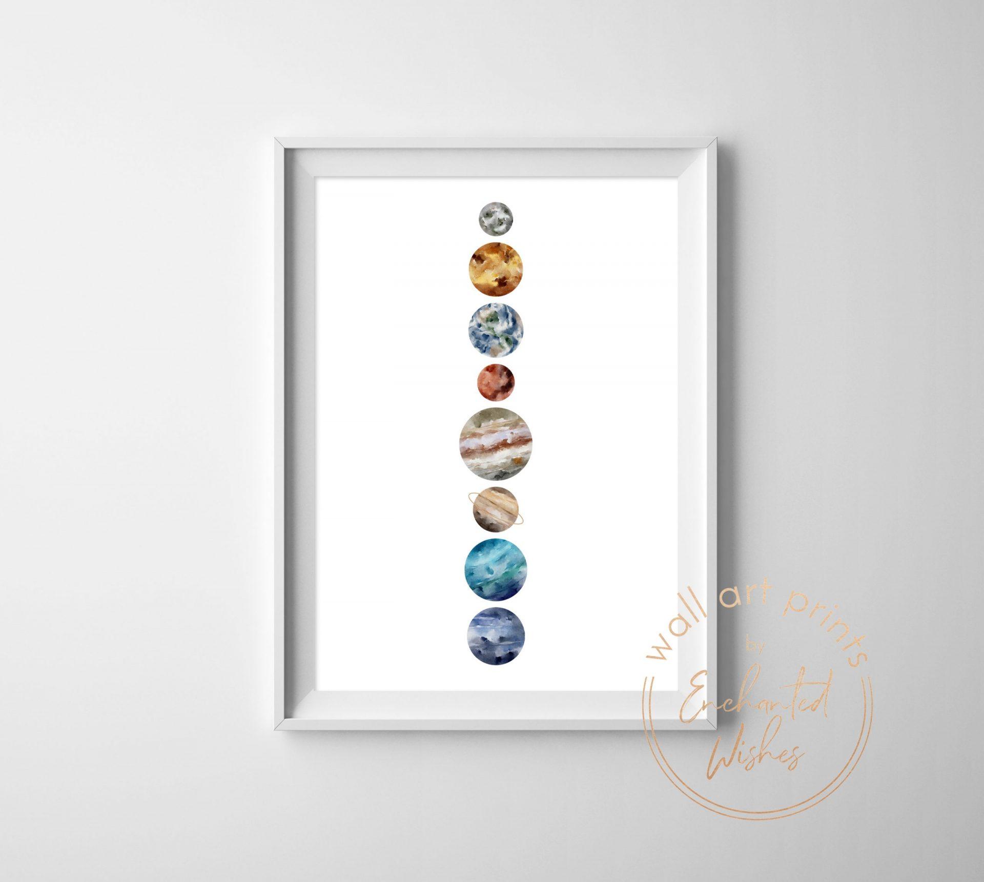 Watercolour planets print