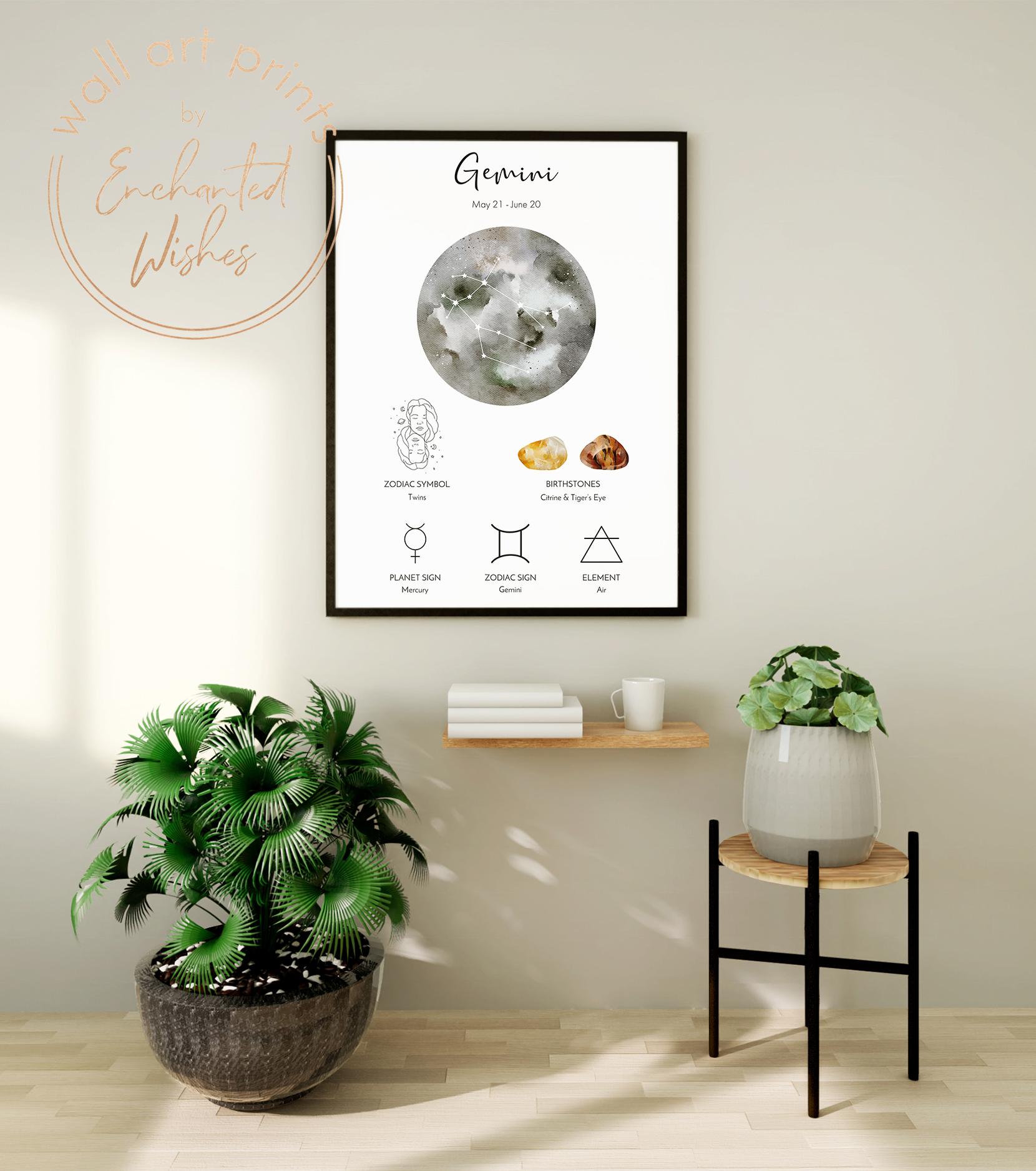 Gemini zodiac print