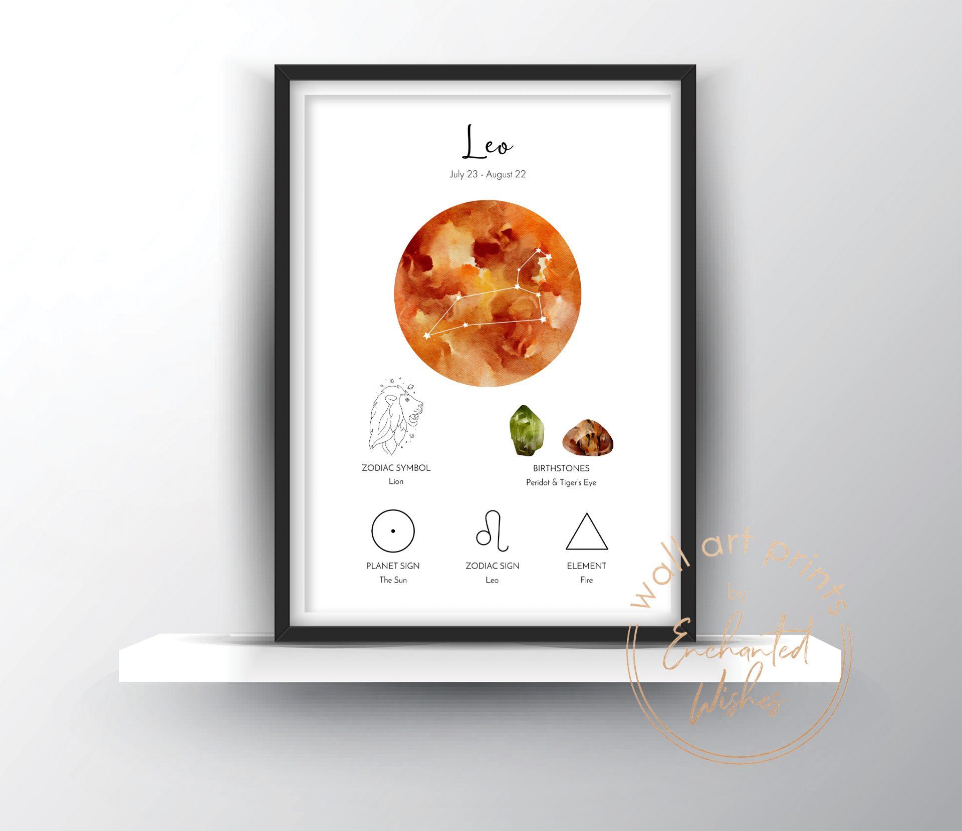 Leo zodiac print